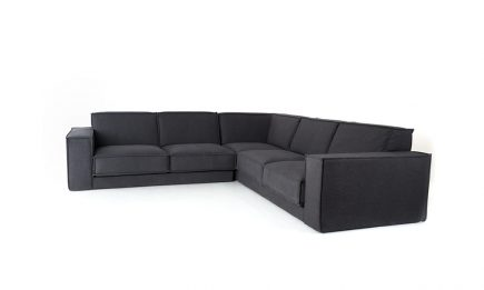 Black corner sofa with feathers filling bespoke size 285/285 cm by Urvission Interiors price £3474