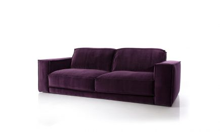Luxury 2 seat sofa with feathers filling and purple fabric size 190/100 cm by Urvission Interiors price £1441