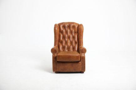 Rustic bespoke armchair in light brown colour and luxury syntethic leather size 120/100 cm by Urvissin Interiors price £1002