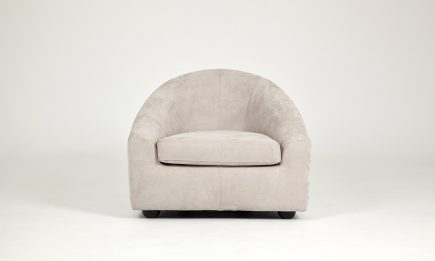 Comfortable bespoke armchair in velvet fabric and ivory colour classical design and rounded shapes by Urvission Interiors price £938