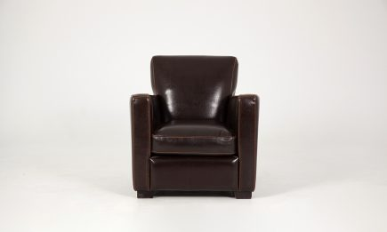 Classical bespoke armchair in dark brown leather and orange decorative stitches size 75/90 cm by Urvission Interiors price £714
