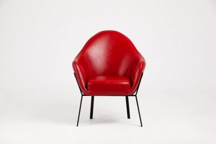 Red upholstered armchair in luxury synthetic leather with black steel legs size 73/71/93 cm by Urvission Interiors price £563