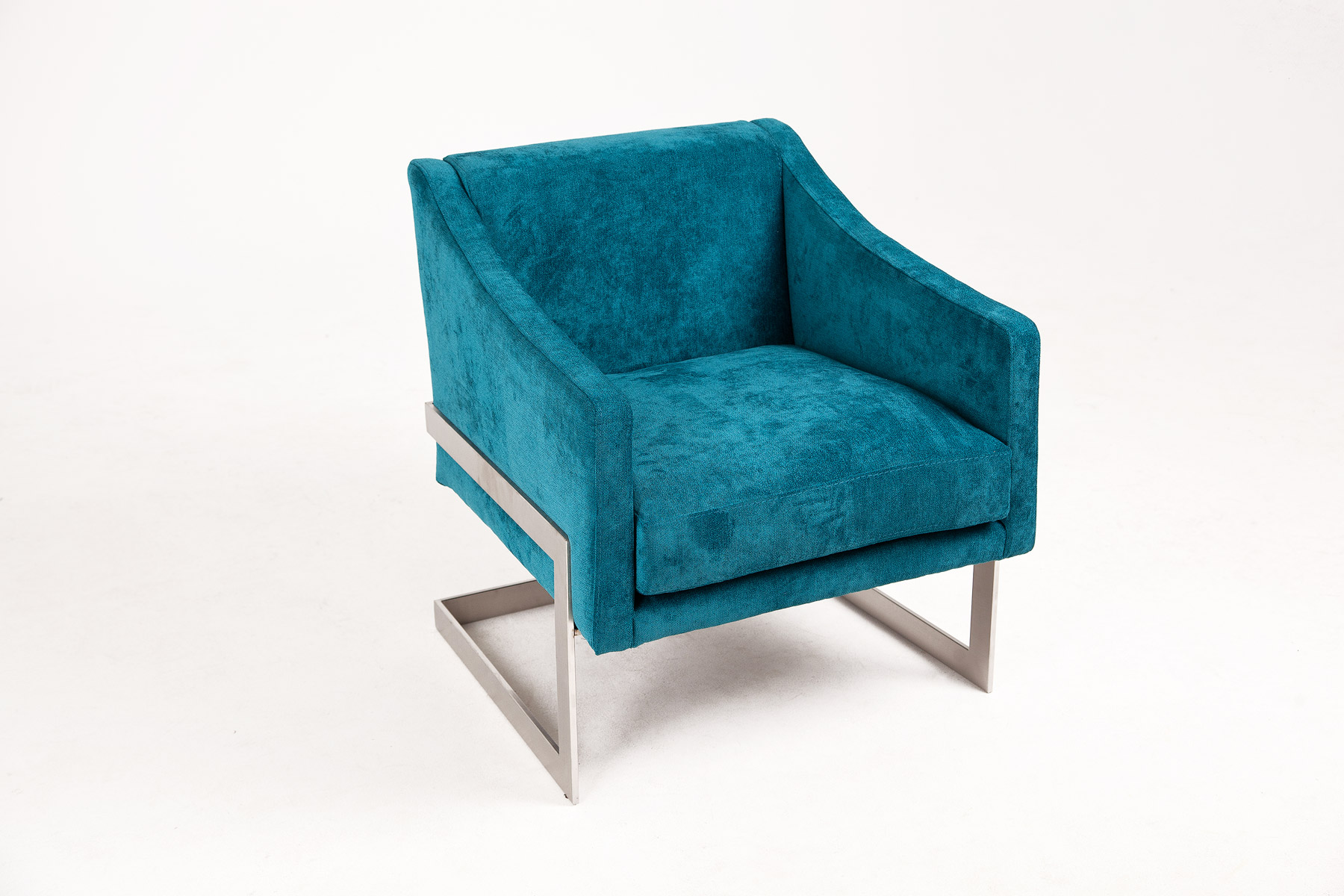 Luxury armchair in a blue velvet fabric and steel legs size 69/70/77cm by Urvission Interiors price £749