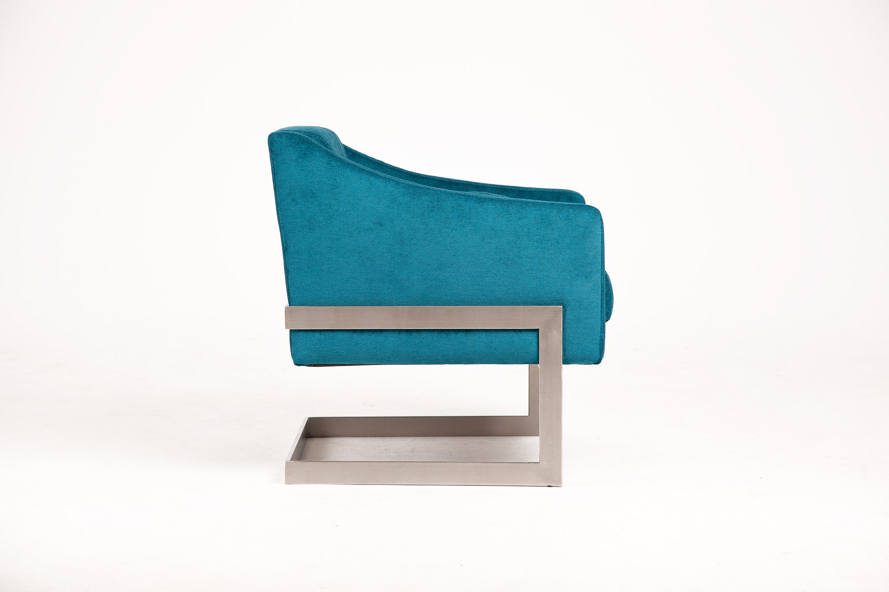 Luxury blue armchair in luxury fabric bespoke with steel legs size 69/70/77cm by Urvission Interiors price £749