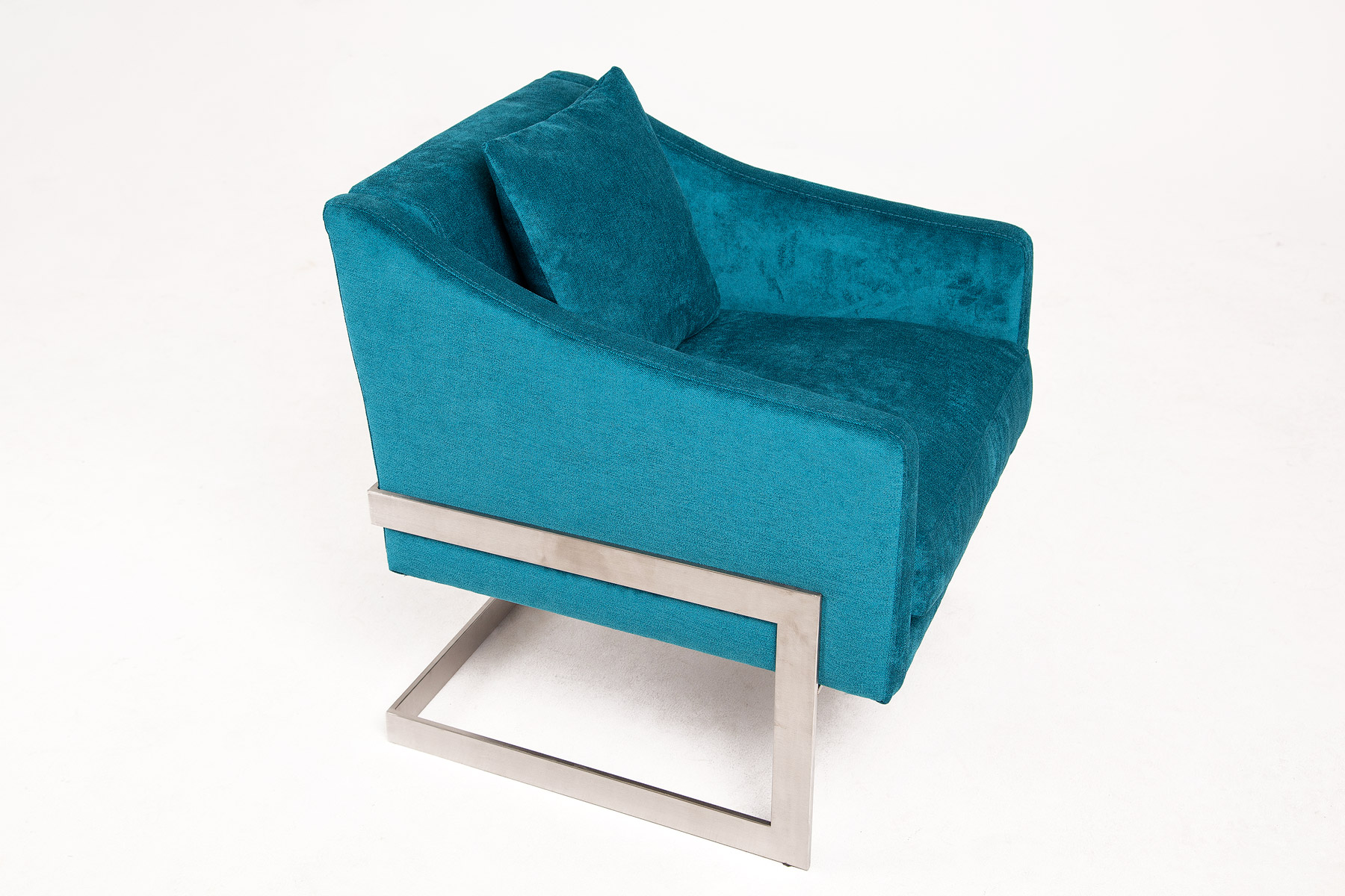Luxury blue velvet armchair in modern design with steel legs size 69/70/77cm by Urvission Interiors price £749