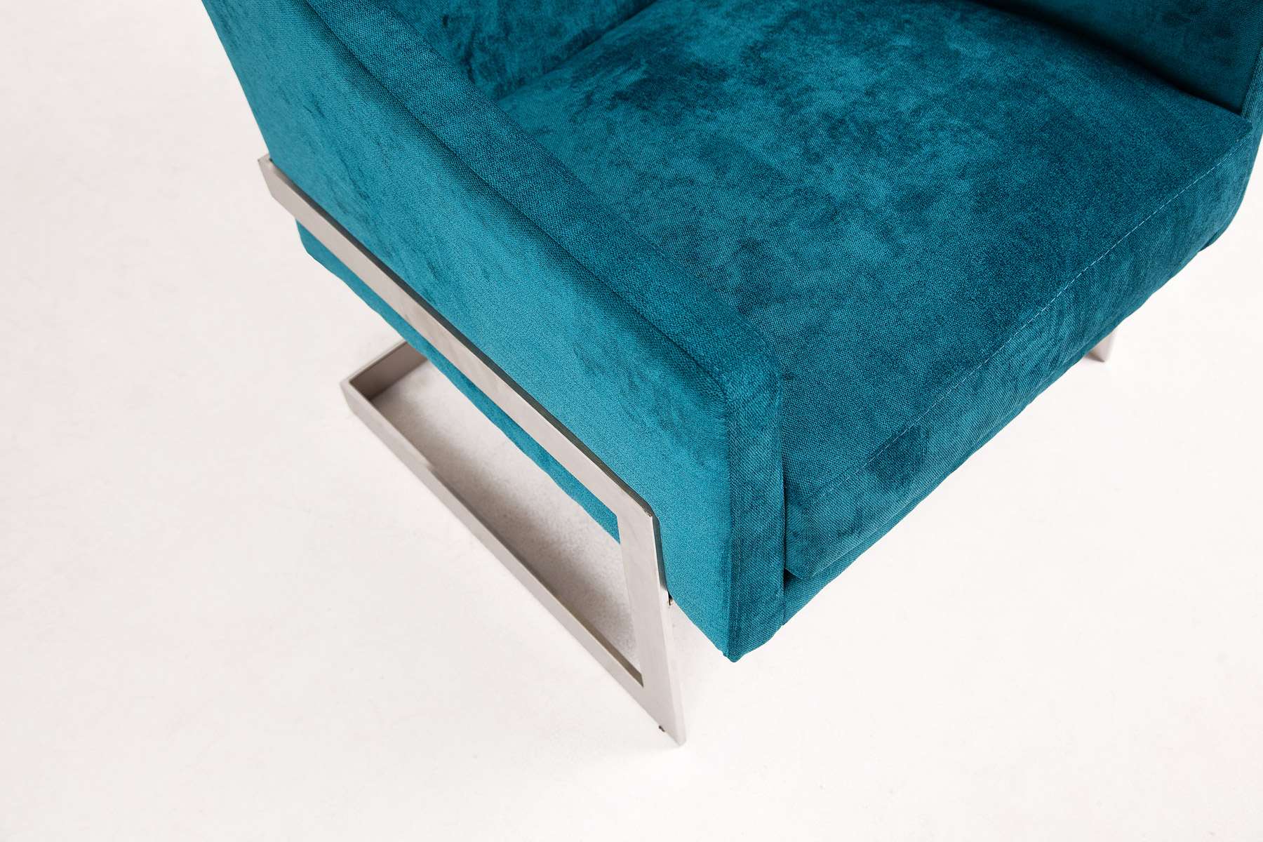 Ultra stylish blue armchair in modern design and steel legs size 69/70/77cm by Urvission Interiors price £749