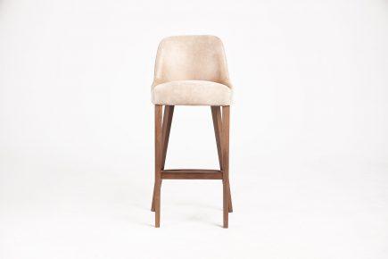Upholstered modern bar stool in light beige velvet and wood legs size 50/50/106 cm by Urvission Interiors price £418