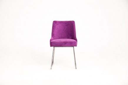 Upholstered dining chair in luxury fuchsia fabric and stylish steel legs size 55/55/83 cm by Urvission Interiors price £318