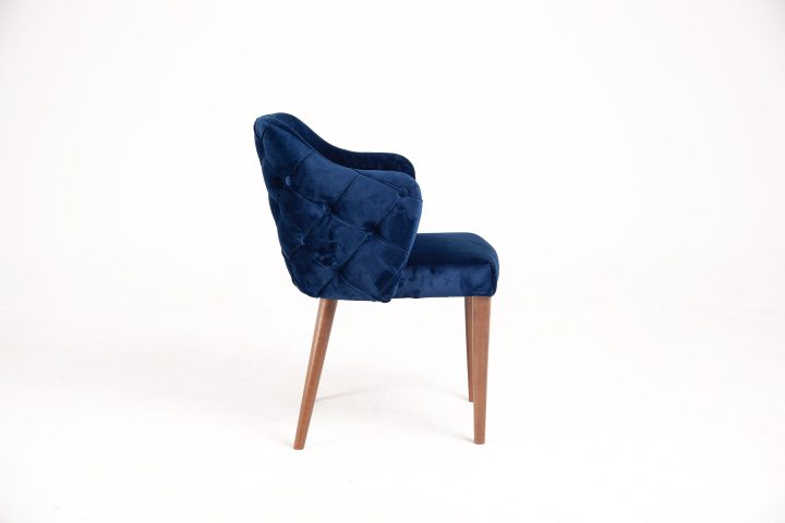 Dining chair with royal design in luxury navy blue fabric with wood legs and hand made elements size 56/60/80 cm by Urvission Interiors price £333