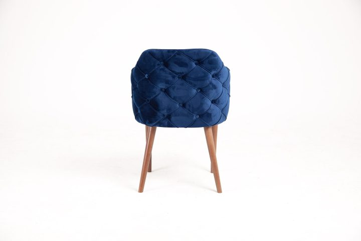Dining chair with modern design in luxury dark blue fabric with wood legs and hand made elements size 56/60/80 cm by Urvission Interiors price £333