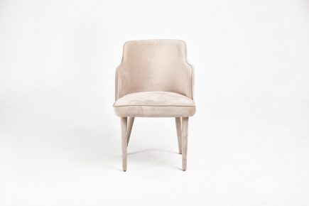 Light beige dining chair in luxury fabric whit upholstered legs and cosy design size 55/65/64 cm by Urvission Interiors price £314