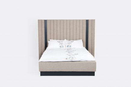 Bespoke ottoman luxury bed in beige fabric with wood detail modern style size 160/200 cm by Urvission Interiors price £2103