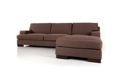 Bespoke modern corner sofa in luxury dark brown fabric size 270/190 cm by Urvission Interiors price £2470