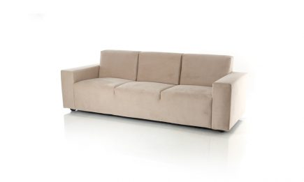 Bespoke 3 seat beige sofa in modern design and high quality fabric size 220/80 cm by Urvission Interiors price £955
