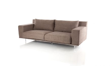 Designer 2 seat modern sofa in light brown fabric and elegant steel legs size 180/95 cm by Urvission Interiors price £1483
