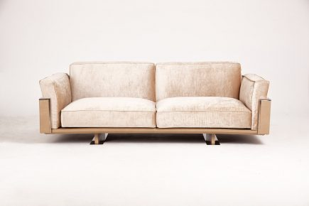 3 seat ultra stylish sofa in light beige velvet fabric with handmade leather details and steel legs size 220/95 cm by Urvission Interiors price £1828