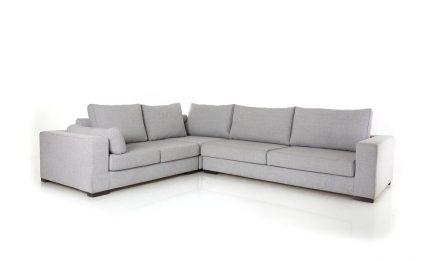 Modern corner sofa in ivory fabric size 300/250 cm by Urvission Interiors price £2636