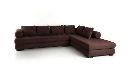 Vintage dark brown corner sofa made to order size 310/240 cm by Urvission Interiors price £2568