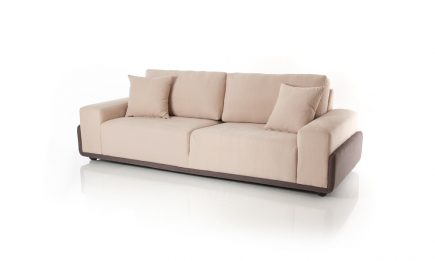 2 seat designer sofa made to order in beige fabric and feathers filling size 180/95 by Urvission Interiors price £1248