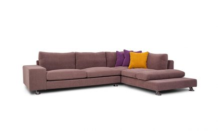Luxury corner sofa in brown colour with purple and orange cushions with steel legs size 305/230 cm by Urvission Interiors £2427