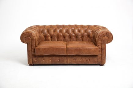 Classical 2 seat brown sofa bespoke Chesterfield model in hight quality syntetic leather with handmade details size 170/100 cm by Urvission Interiors £1954