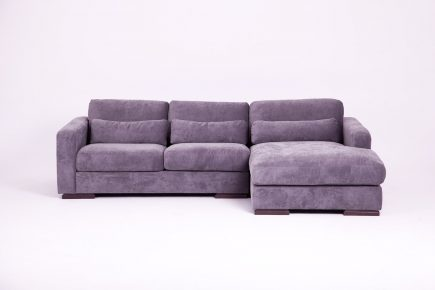 Modern light purple fabric corner sofa with cosy pillows size 270/190 cm by Urvission Interiors price £2530