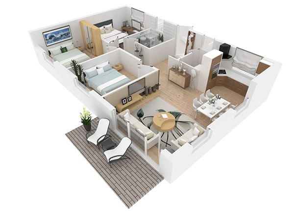 3D colored floorplan interior design by Urvission Interiors