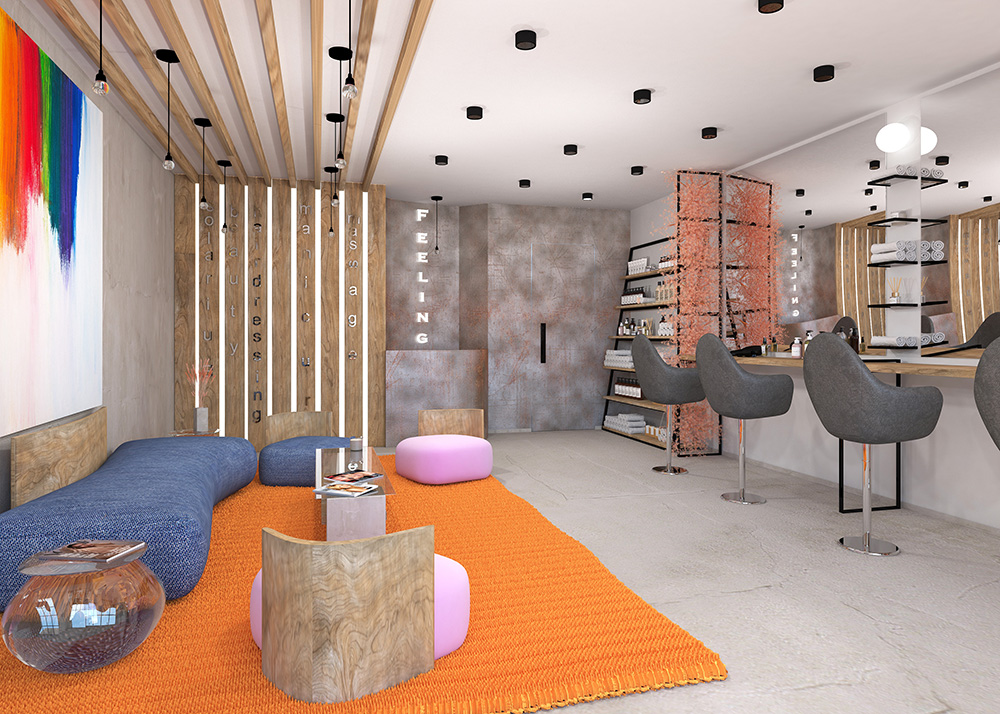 Contemporary 3D visualisation on beauty salon in London by Urvission Interiors