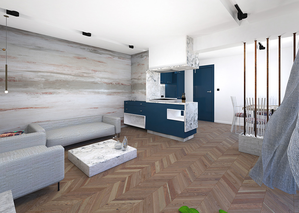 3D visualisation of contemporary living room design by Urvission Interiors