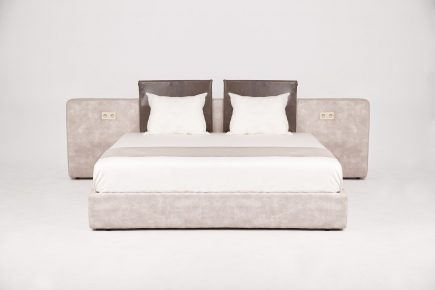 Upholstered bespoke beige fabric ottoman super king bed Nicolette size 180/200 cm by Urvission Interiors price £2821