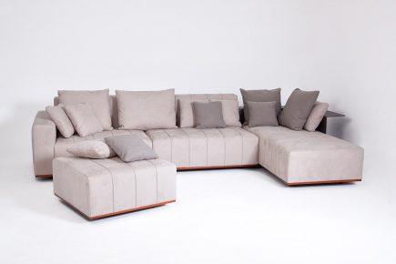 Designer beige velvet corner sofa with steel and leather elements size 400/170 cm by Urvission Interiors price £4545