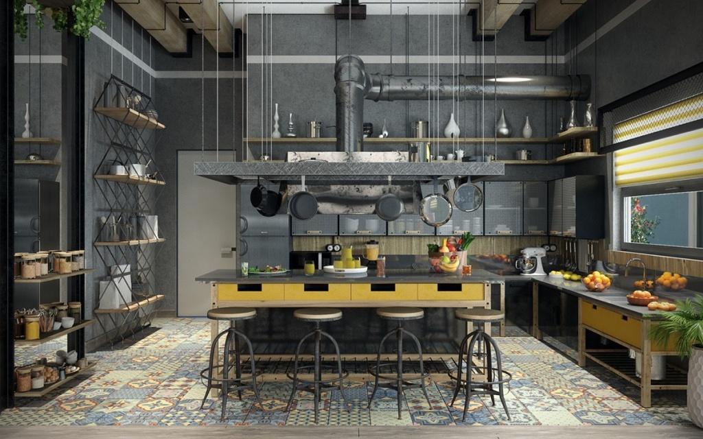 Cosy black kitchen design by Urvission Urvission