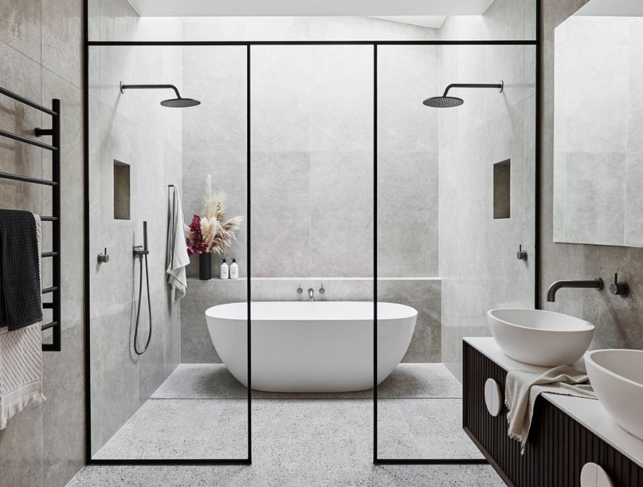 Luxury contemporary bathroom design by Urvission Interiors