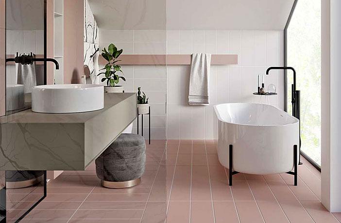 Pink contemporary bathroom design by Urvission Interiors