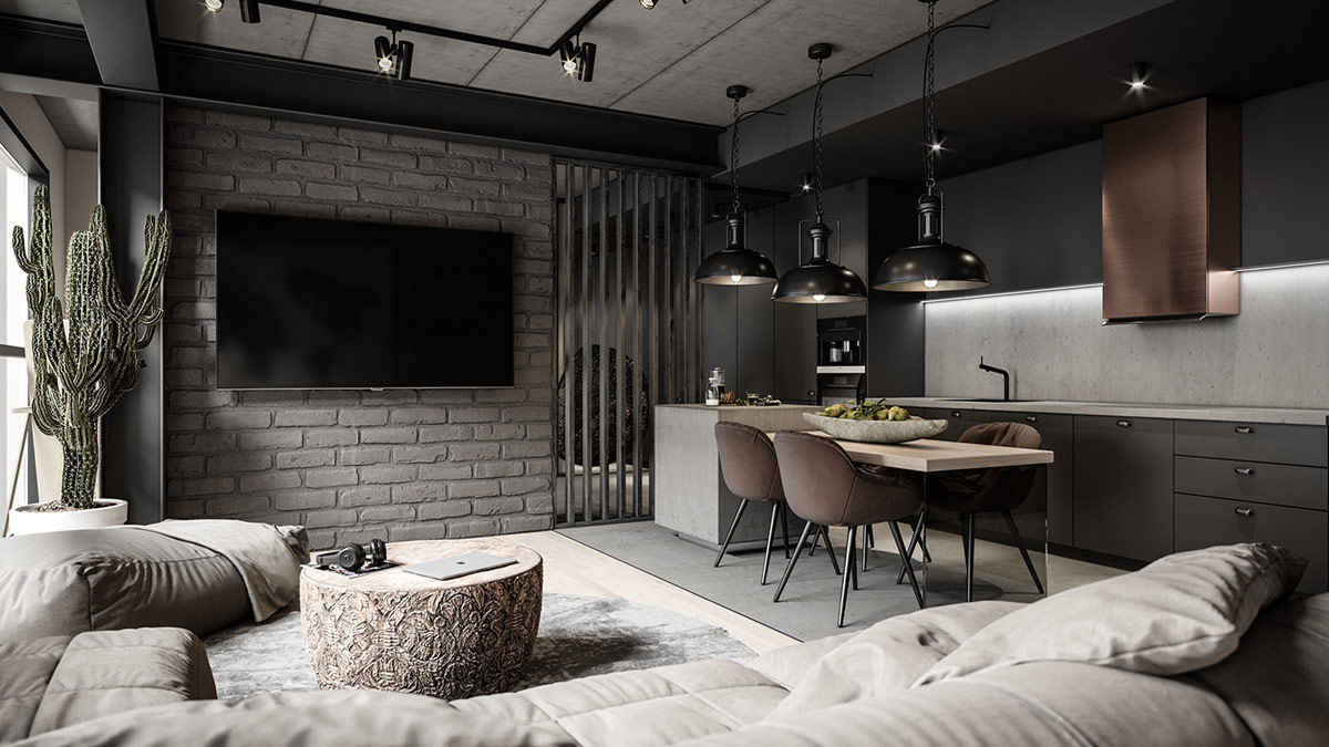 Industrial style in grey and black by urvission Interiors