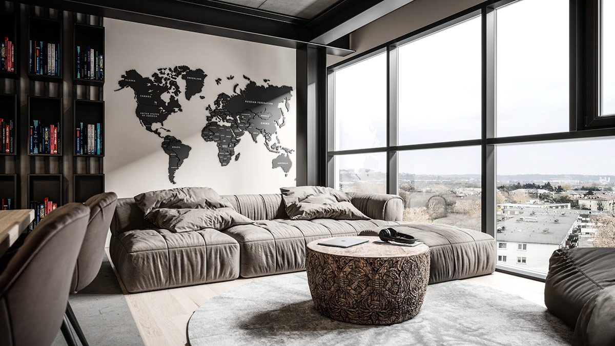 Cosy industrial design of living room by Urvission Interiors