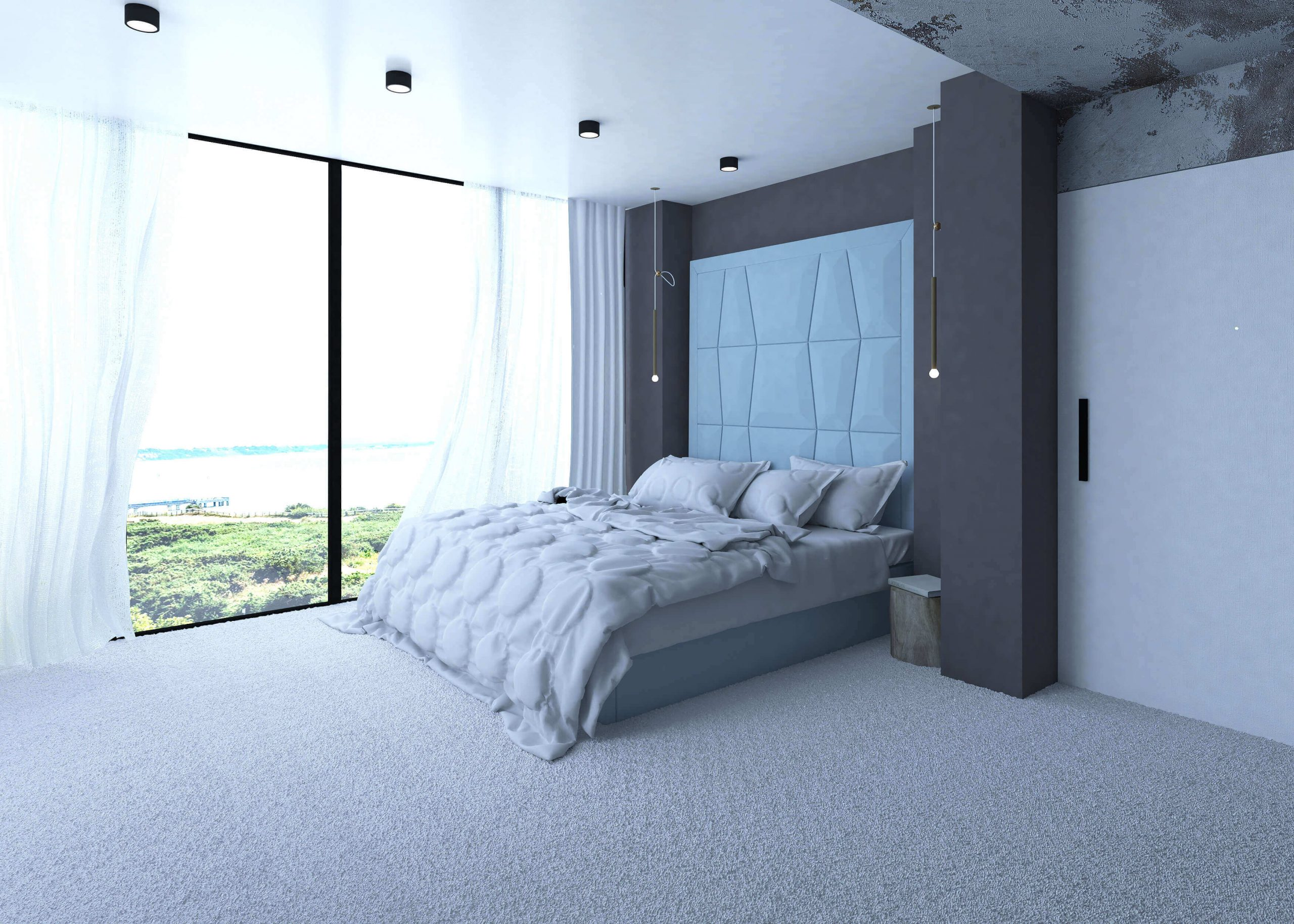 Cosy_blue_and_brown_modern_bedroom_desihn_Urvission_Interiors