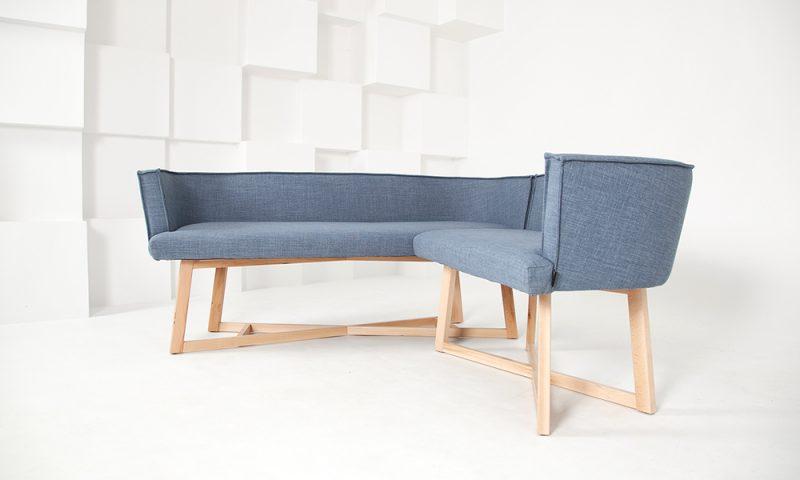 Scandinavian blue sofa by Urvission Interiors