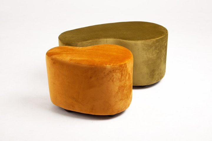 Handmade_moss_green_and_burnt_orange_cosy_poufs_London_Urvission_Interiors_price_£577