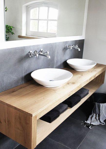 Bespoke Natural Wood Open Bathroom Storage Soho
