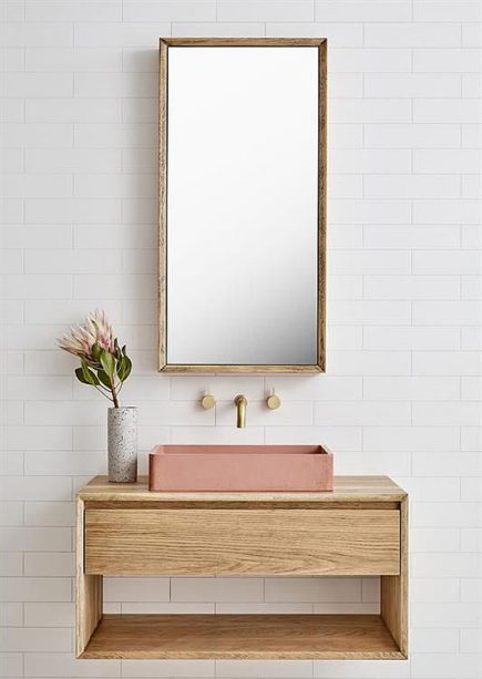 Bespoke natural wood open bathroom wall hung vanity unit Quadro