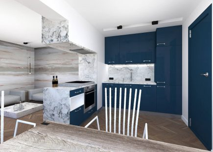 Blue contemporary compact L shape open plan island bespoke fitted kitchen Urvission Interiors