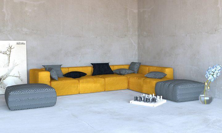 Burnt Orange and navy blue modular sofa corner Divan Urvission Interiors