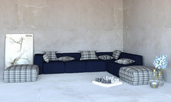 Cosy Navy blue modular sofa corner Divan Urvission Interiors