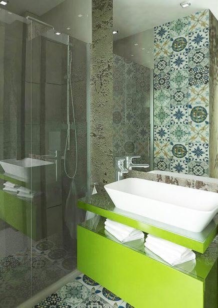 Green contemporary bespoke drawer bathroom freestanding vanity unit - Qube Urvission Interiors