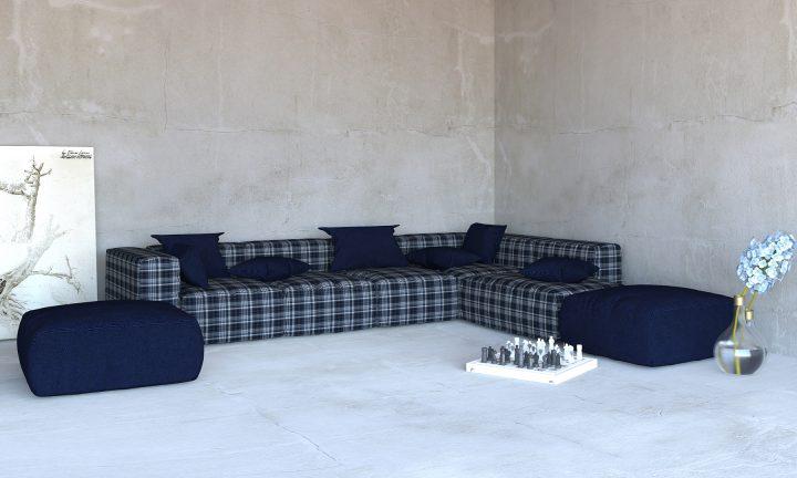 Luxury dark blue modular sofa corner Divan Urvission Interiors