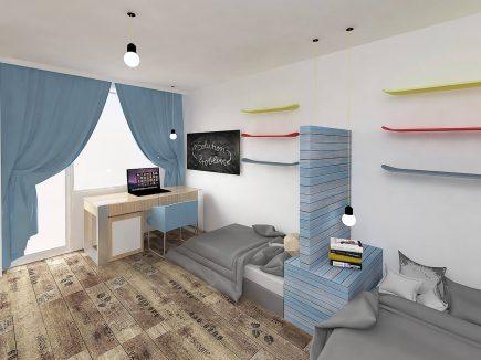 Modern light blue teen bespoke fitted bedroom – Boys