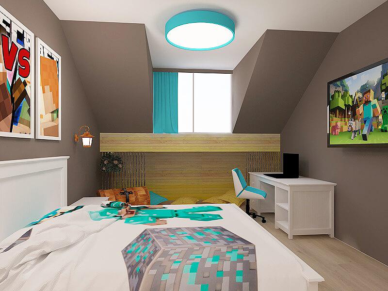 Modern green/grey boy bespoke fitted bedroom - Minecraft Urvission Interior