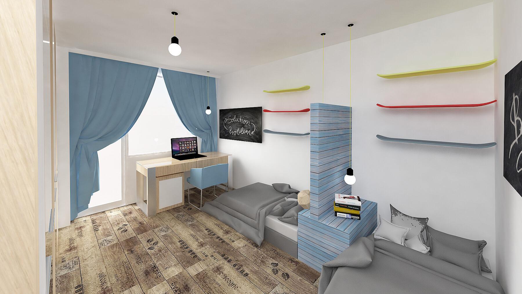 Modern medium teen blue fitted bedroom Boys Urvission Interiors