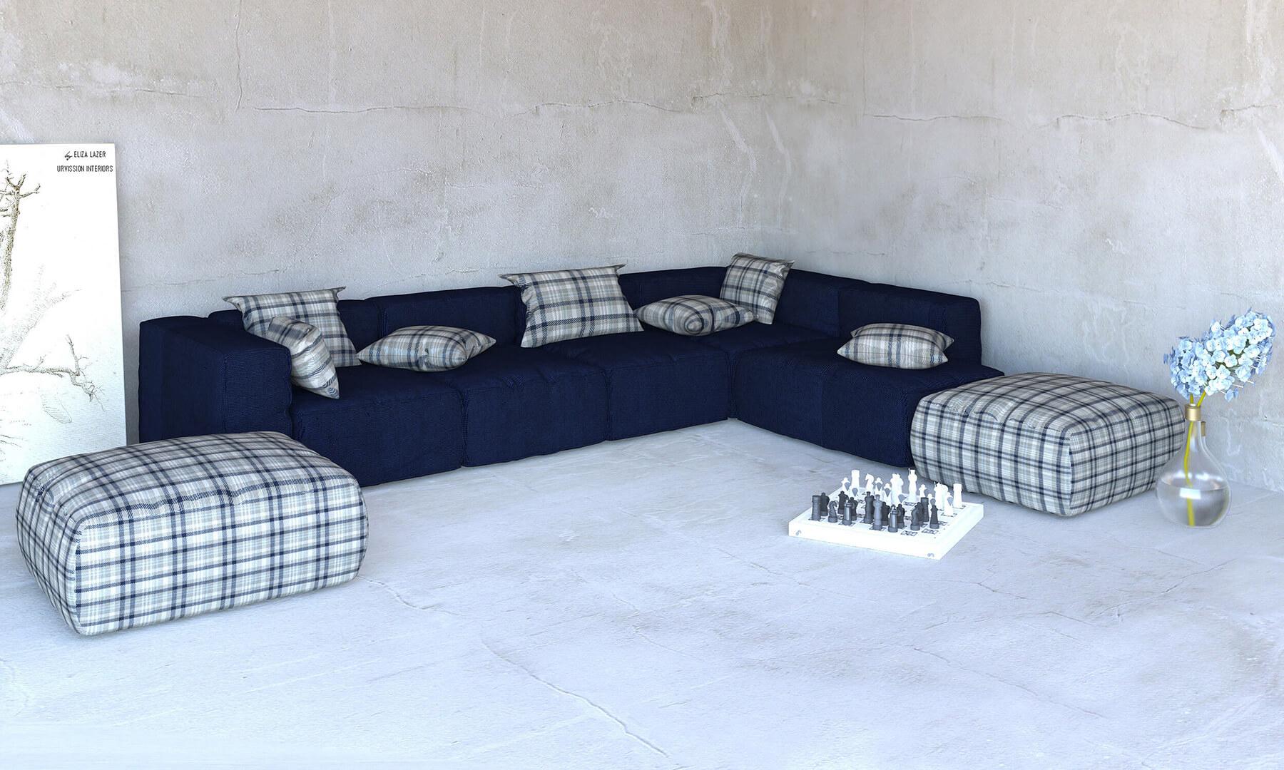 Navy blue modular sofa corner Divan Urvission Interiors